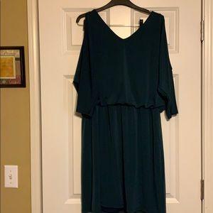 Hunter green new INC Shoulder cut out mini dress